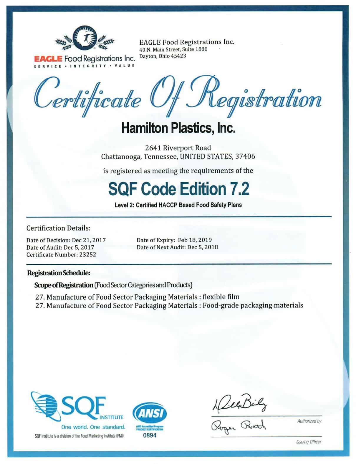 Certificate SQF CODE Hamilton Plastics